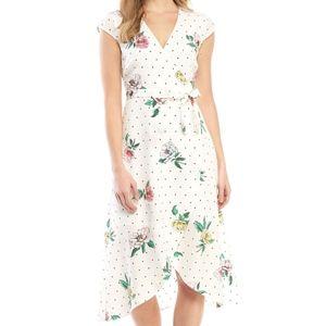 Madison White Polka Dot Floral Wrap Pop Art Dress